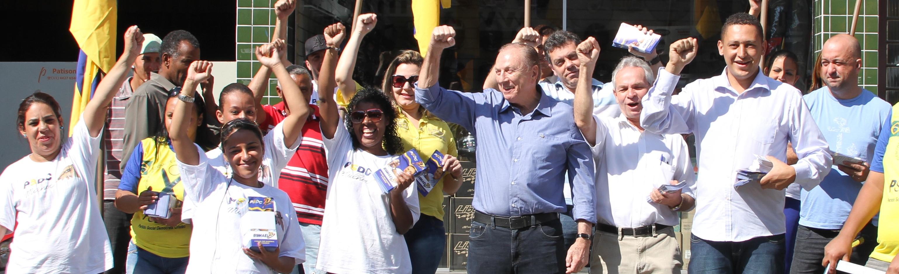 O Constituinte Eymael durante sua visita a Santo André, no ABC paulista.