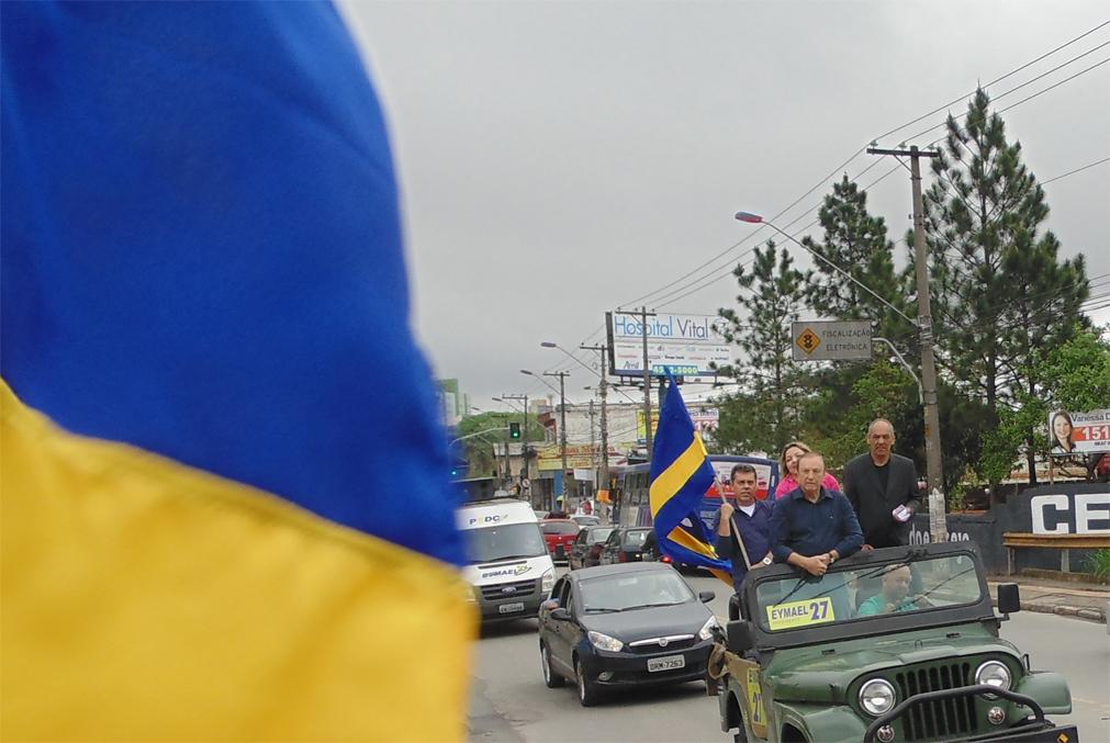 """""""O Azul e Amarelo que estiveram presentes nos 26 estados da federação e no Distrito Federal, tremulam pelas ruas de Mauá."""""""